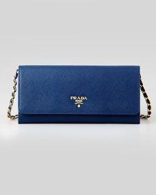 Saffiano wallet bag - Blue Prada dLYmR7N