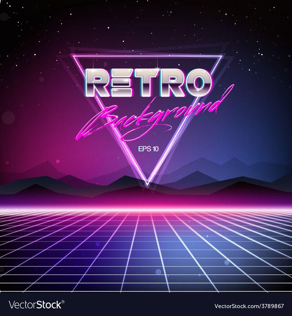 80s retro scifi background vector image on sci fi