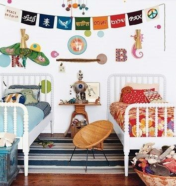"""another pinner wrote: """"Domino Mag via The Handmade Home - Continued!"""" my comment: I love this room--perfect for when a brother and sister must share a bedroom, or when two children have opposite interests and tastes---and the prayer / peace flags--wow--wonderful touch!"""