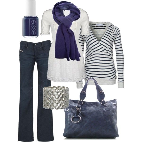 Crisp navy and white; although the scarf is more of a deep purple; the navy bag is Gucci and is very reasonable.....love the look