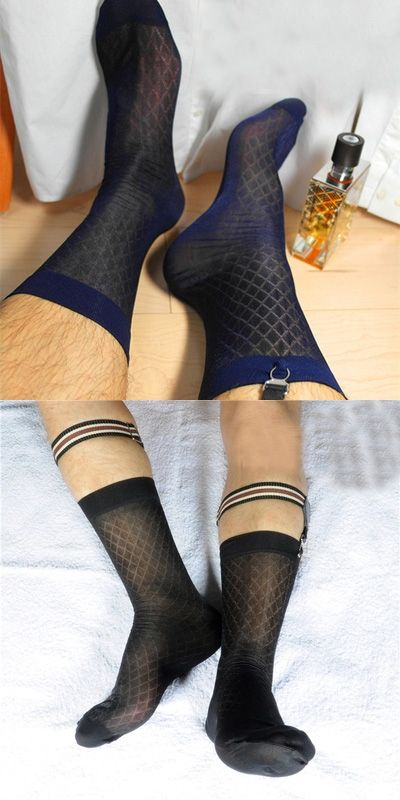 304fd7238 Men sexy Silk sock Men s gifts Sheer see through Male socks High quality  Formal style Black