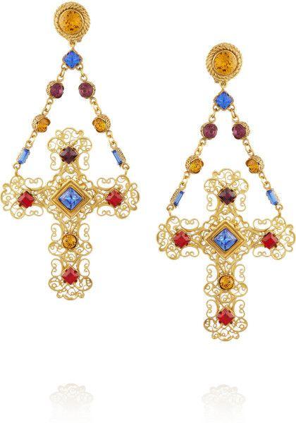 e4988045b Dolce & Gabbana Multicolor Gemme Gold Plated Swarovski Crystal Cross Clip  Earrings