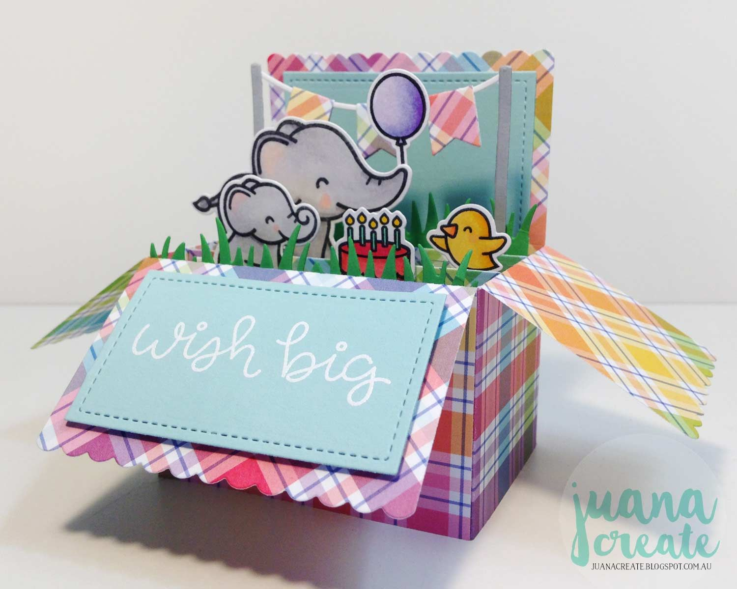 Lawn fawnus new elphie selfie with pop up scalloped box card wish