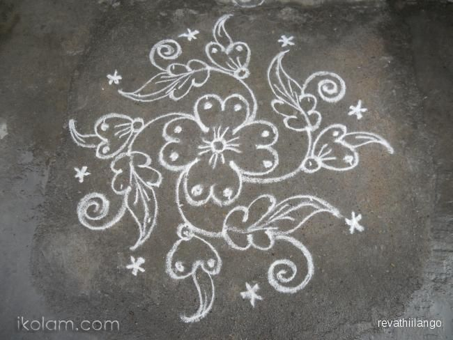 Rangoli A Small Flower Kolam 8 Dots 2 Lines End With 2 Dots M