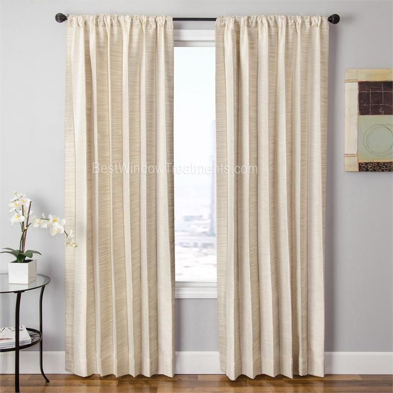 Kitchen Curtains Fabric Curtains Fabric Stripe Drapes: Tandora Stripe Curtain Panel In Pearl/natural Color
