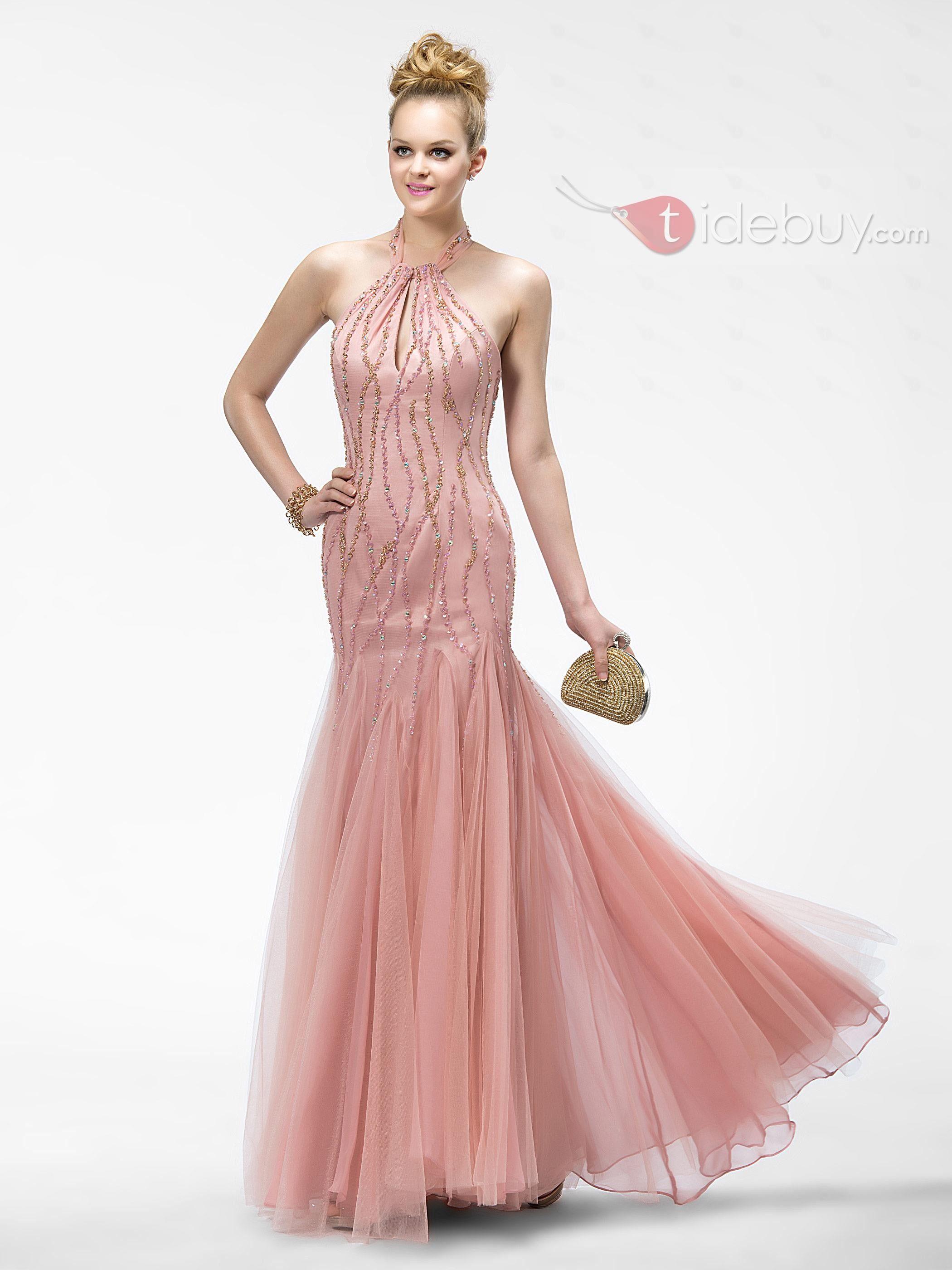 Glamorous Sirena Cabestro Listones Lentejuelas Largo Vestido de ...