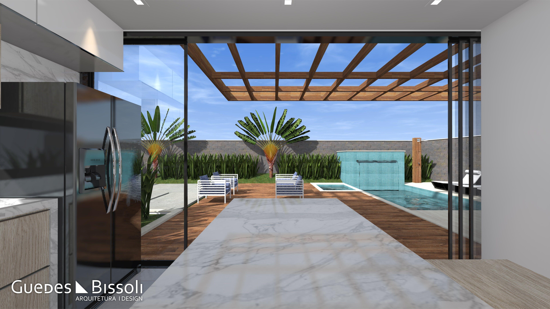 Projeto para área externa com ampla piscina e revestimento ...
