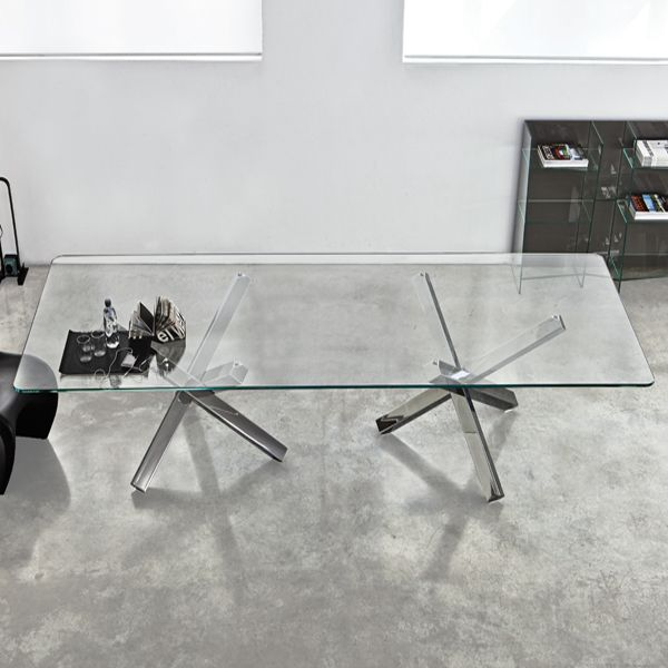 Sovet Aikido Two Bases Glass Dining Table Contemporary Dining Room Furniture Glass Dining Table Dining Table Contemporary Glass Dining Table