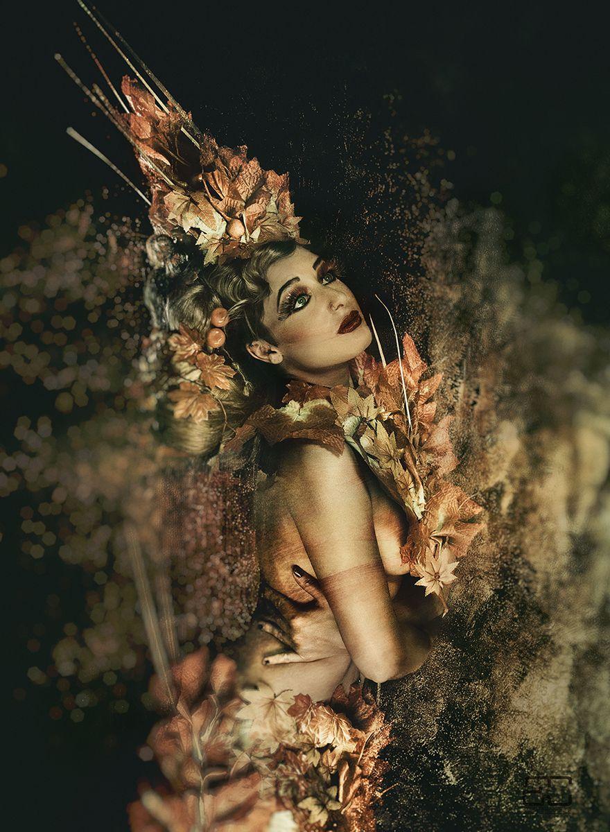 """Tree Goddess of Autumn"" -  Photographer: Alf Caruana / Stylist, Designer, Hair & Makeup: Teresa Salafranca - AliveCreations / Model: Rachel Rah Walters"