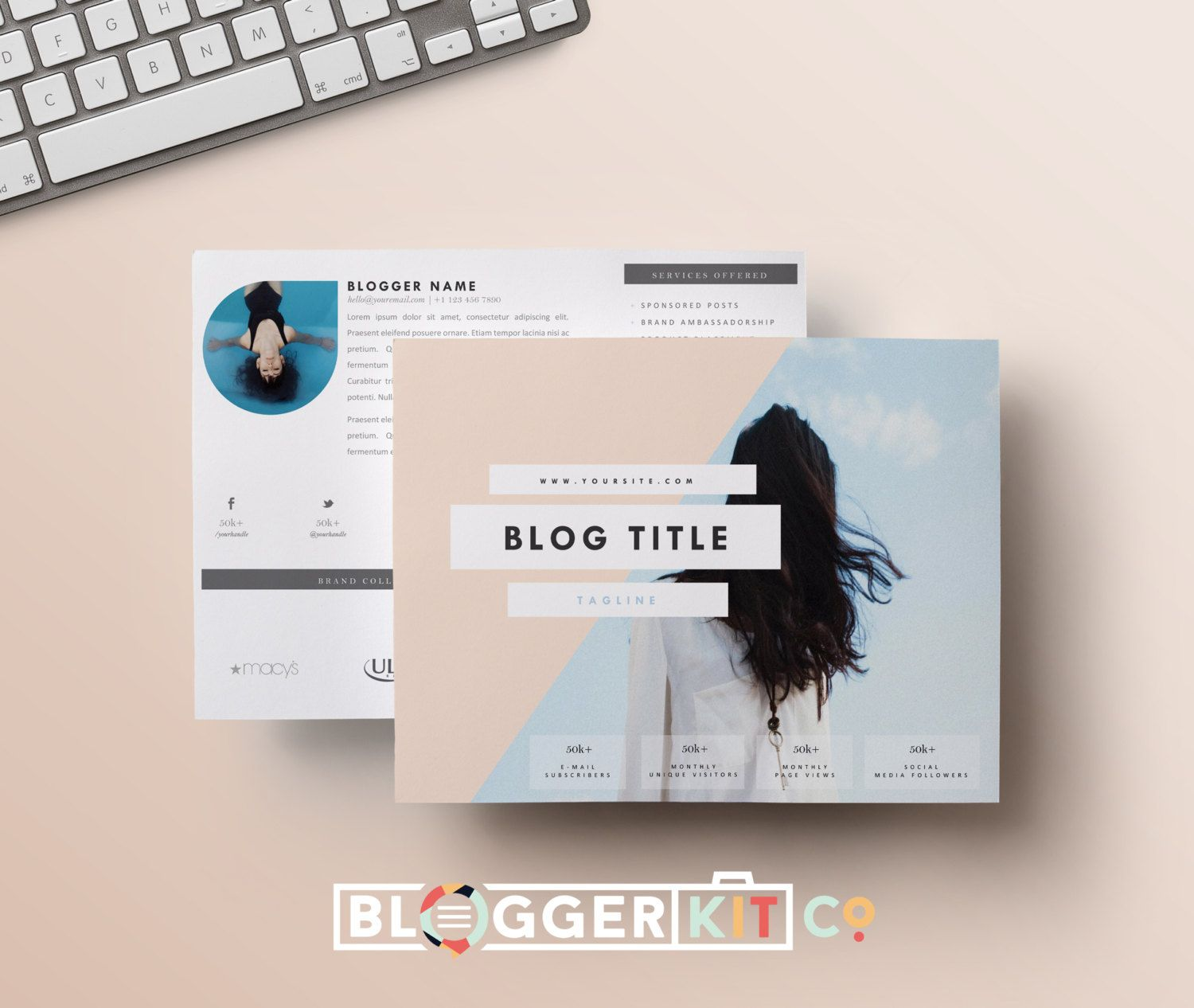 Two-Page Media Kit Template-Horizontal | Press Kit Template