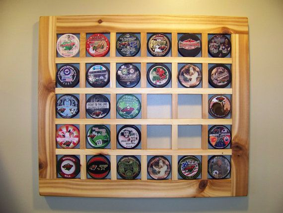 Hand Crafted Hockey Puck Display Case Puck Holder Holds 30 Etsy Hockey Puck Display Hockey Puck Crafts