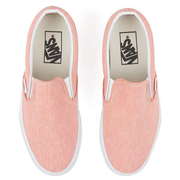 3814ad6c63d Vans Women s Classic Slip-on Chambray Trainers Coral True White (310 RON) ❤  liked on Polyvore featuring shoes