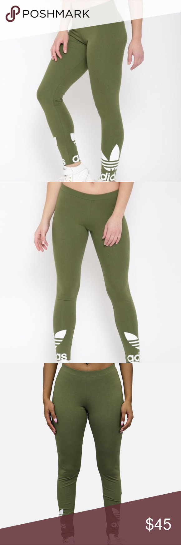 7af0410c820 BNWT OLIVE GREEN ADIDAS TREFOIL LEGGINGS Women's size large. Another pair  I'm sad