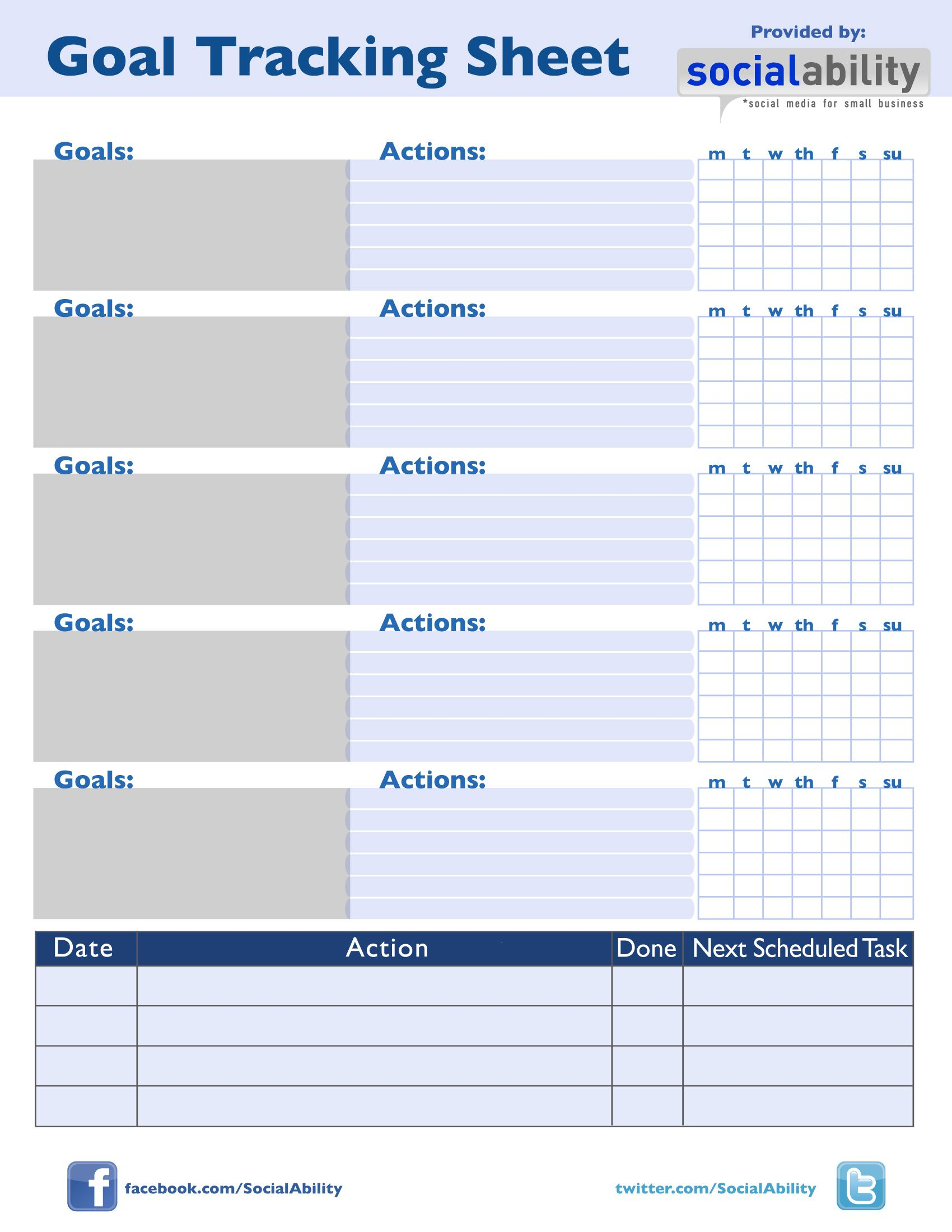 Collection of Goal Tracking Worksheet Sharebrowse – Goal Tracking Template