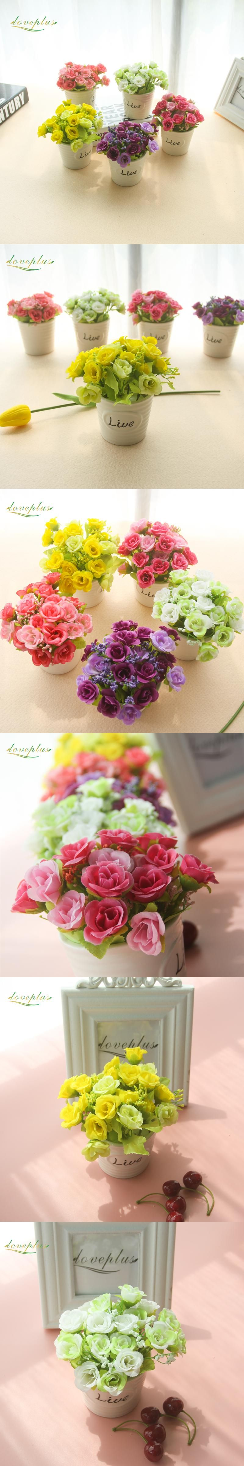 Loveplus cheap artificial roses silk fake flower bonsai for wedding loveplus cheap artificial roses silk fake flower bonsai for wedding decoration small roses table decor with izmirmasajfo Image collections