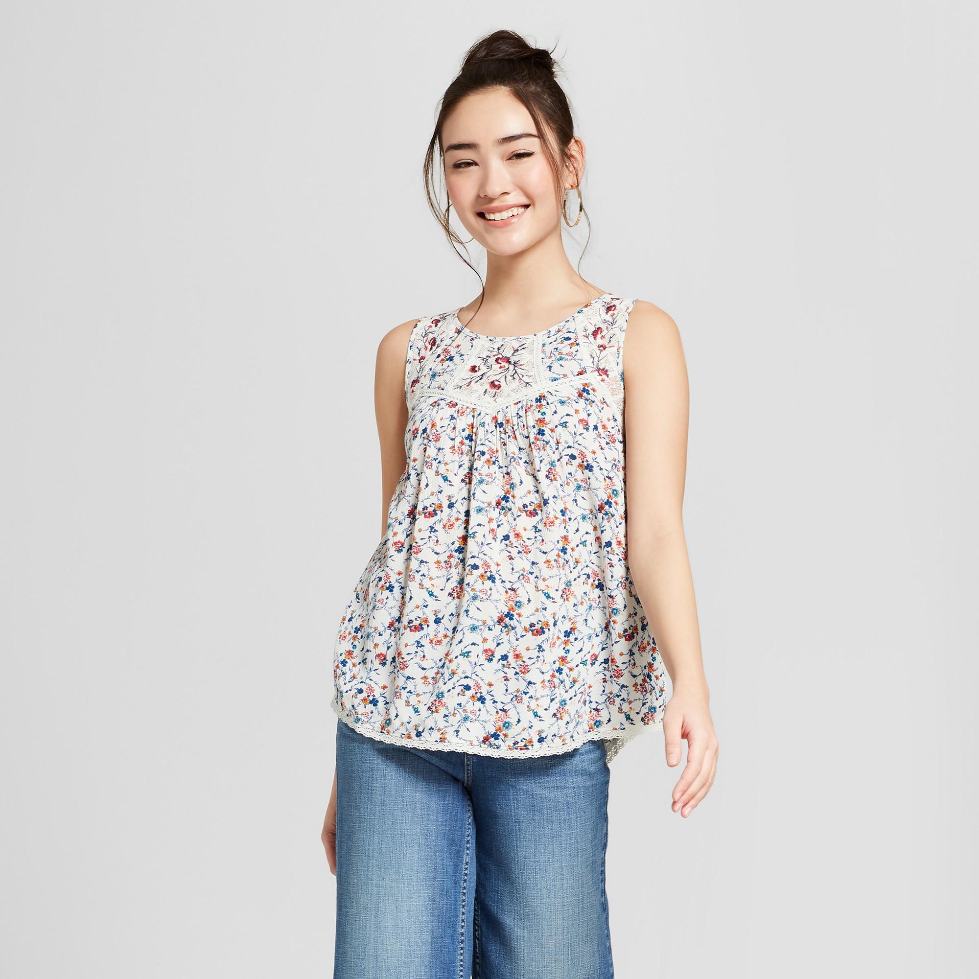 9f321a3d7045d4 Women s Floral Print Lace Swing Tank - Xhilaration Natural Xxl ...
