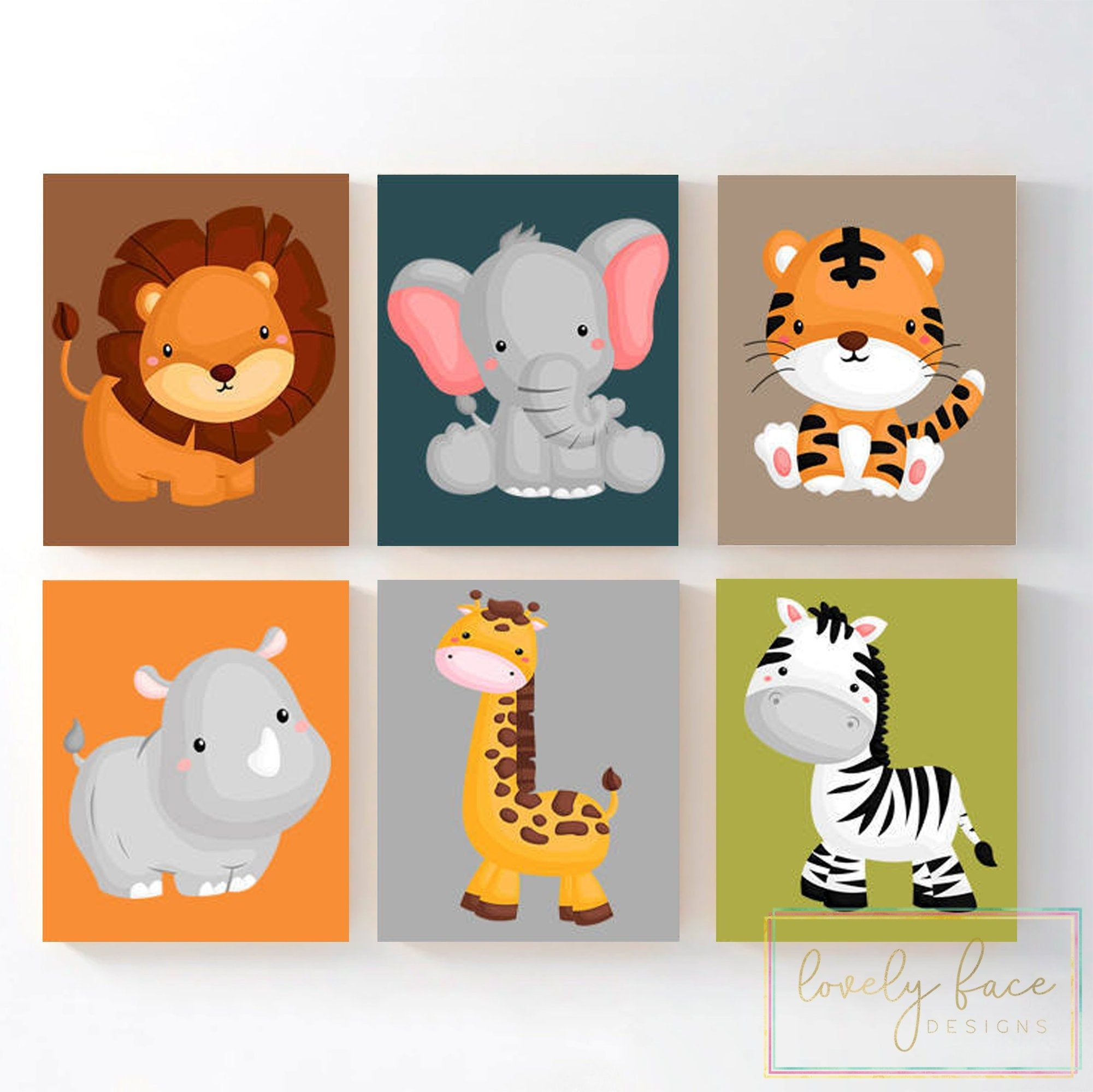 Jungle Safari Animal Wall Art Jungle Safari Animal Nursery Etsy Safari Animals Nursery Boy Animal Nursery Safari Animal Wall Art