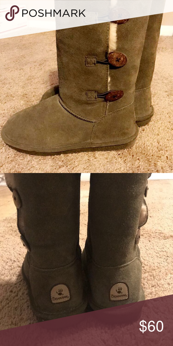 Olive Green Bearpaw Boots Worn once