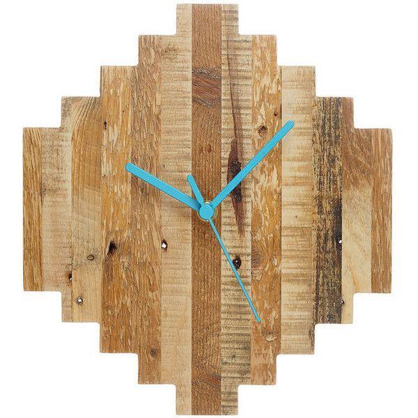 Hey Bulldog Design Reclaimed Pixel Wood Clock Found On Polyvore