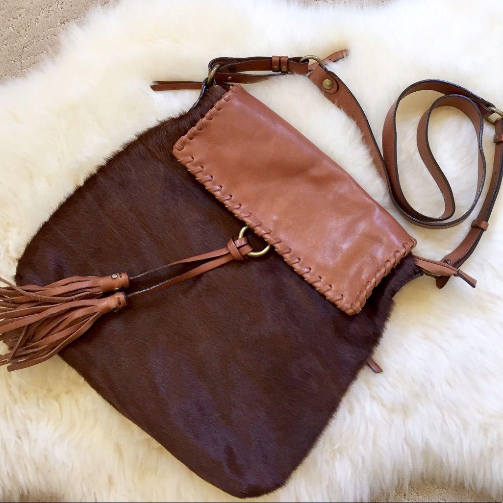 Cavalcanti Leather And Calf Hair Crossbody Bag