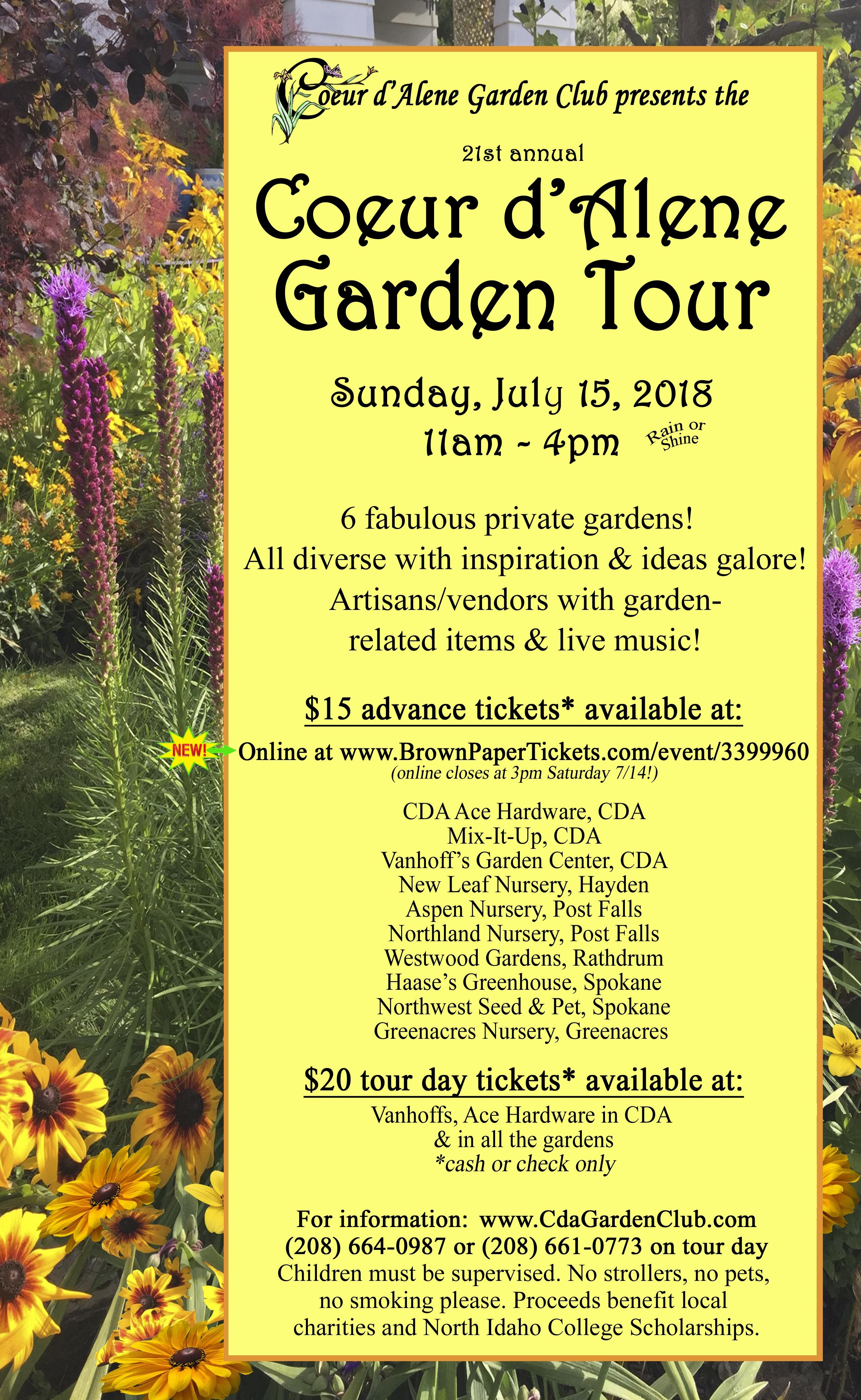 Tickets For The 21st Annual Coeur D Alene Garden Club S Tour Are Now Available