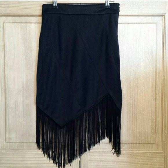 CLOSING MY CLOSET Super cute asymmetrical black skirt with fringe bottom. Charlotte Russe Skirts Midi
