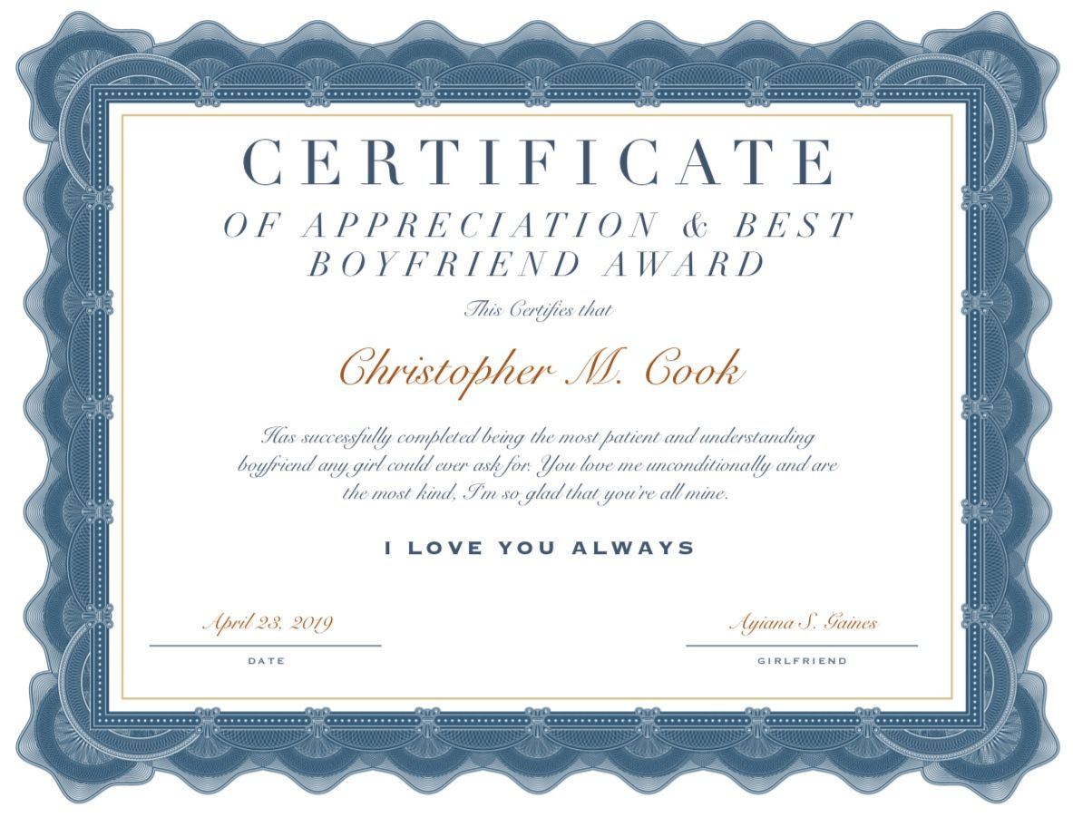 Diy Boyfriend Appreciation Project Best Boyfriend Happy Birthday Gifts Things To Do With Your Boyfriend Girlfriend of the year award