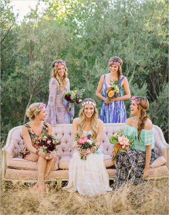 Boho wedding ideas - Mismatched Colorful bohemian bridesmaid ...