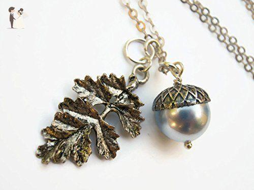 925 Sterling silver acorn necklace - Autumn woodland pendant D3NuK4sQs
