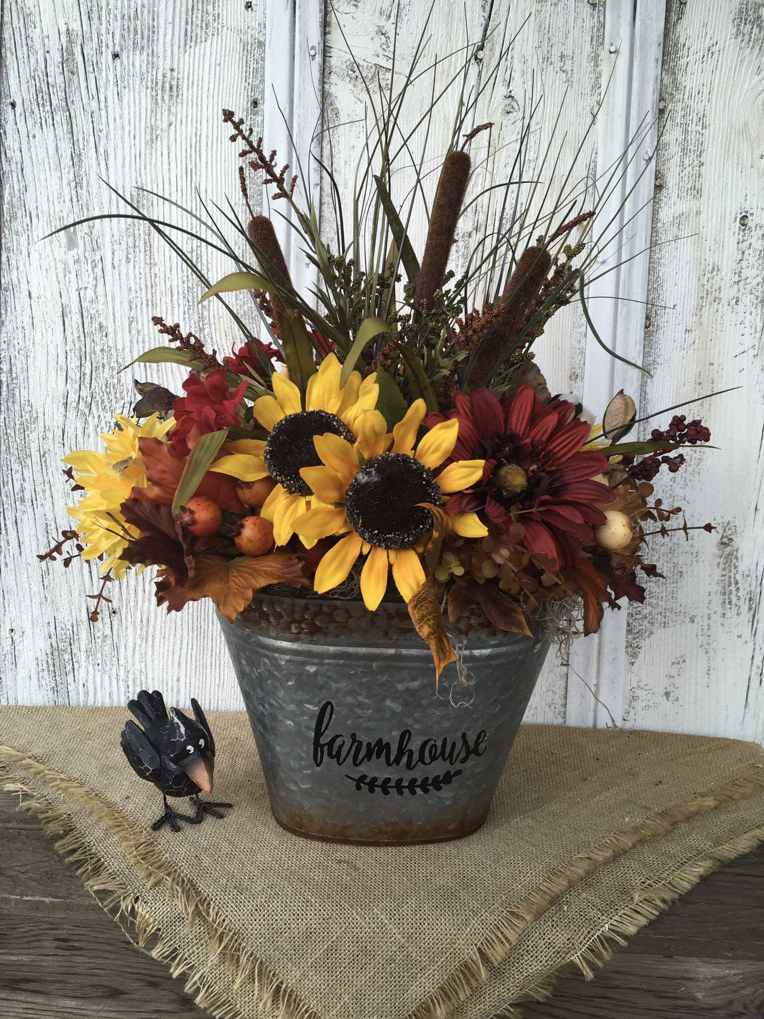 Farmhouse Summer Floral Arrangement Yellow Sunflowers And Red Etsy Fall Floral Arrangements Sunflower Arrangements Fall Flower Arrangements