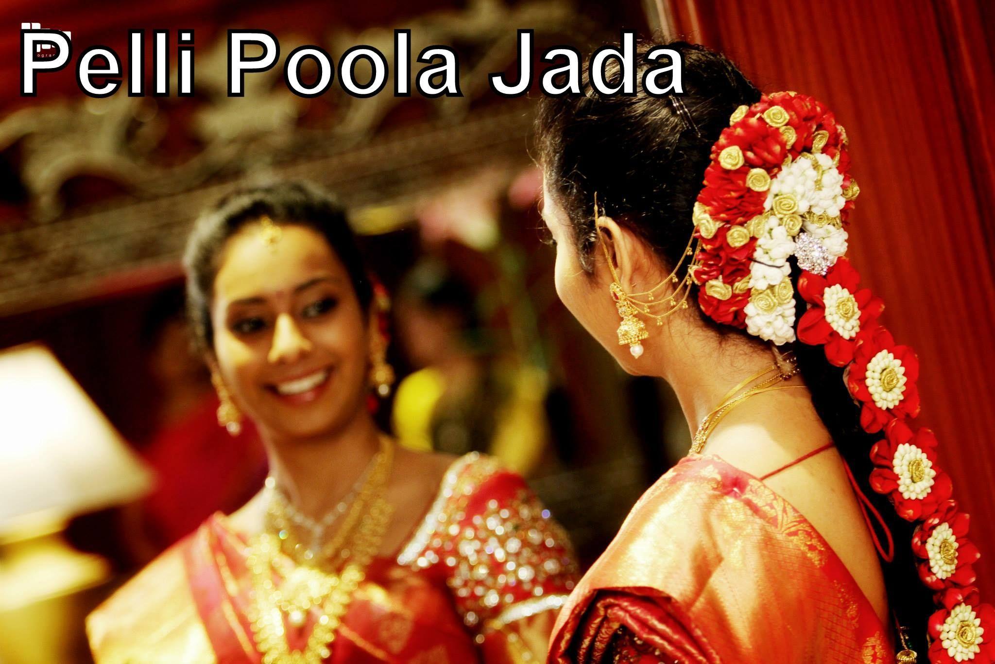 pelli poola jada, bridal hair style made in hyderabad, india