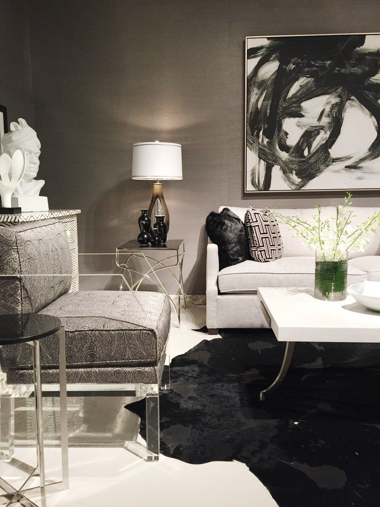 White Couch Black Rug In Love With This Room And This Side Chair With Lucite Legs And A Classic Black Whi Cheap Furniture Website Furniture Cheap Furniture