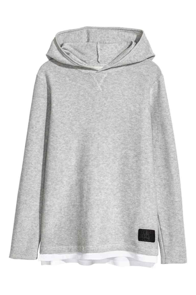 Camisola com capuz malha fina - Cinzento -  950e8e3803c