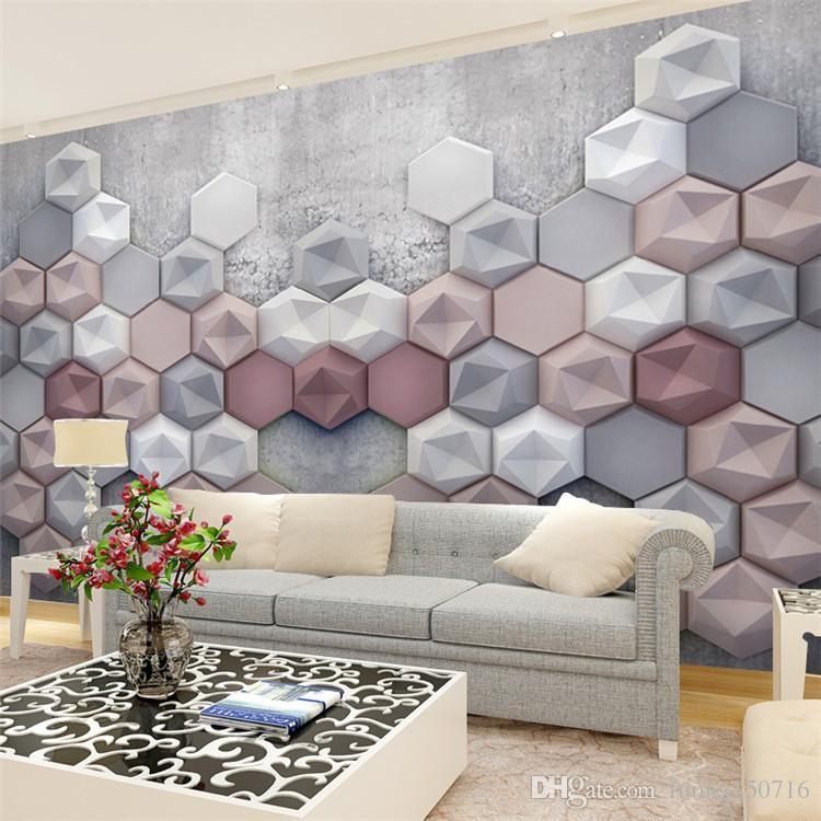 Grey Pink White Hexagon 3d Wallpaper Geometric Wallpaper Decor Flat Decor Accent Wall