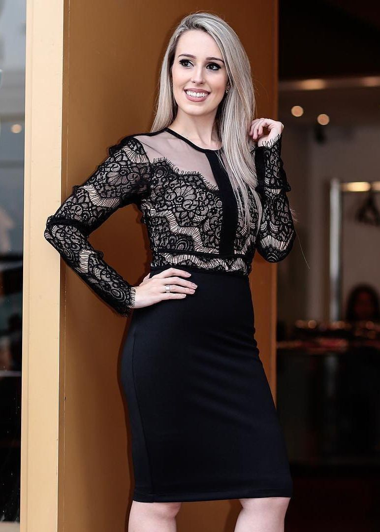 Vestido curto com renda preta - Madame Ninna , loja de