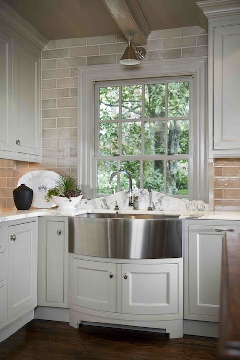interesting marble backsplash kitchen walls | Design Galleria ~Ivory kitchen cabinets with glass subway ...
