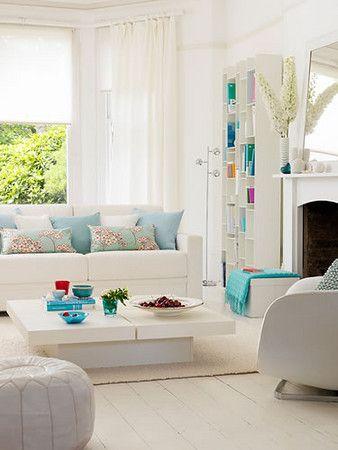 White Turquoise Living Room