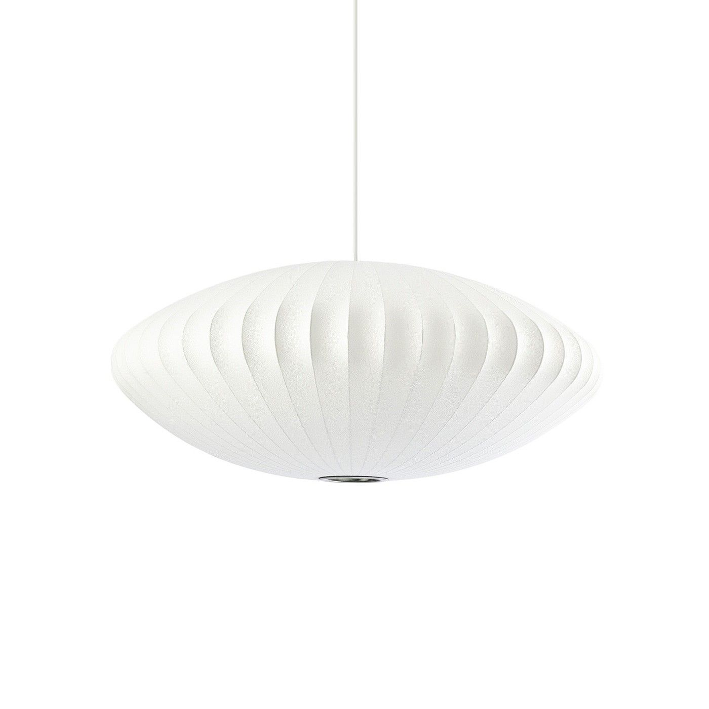 The Saucer hanging lamp was designed by George Nelson in 1947 as an innovative alternative to pendant lighting. Part of the permanent collection of the Museum of Modern Art in New York, this elegant mid-century pendant has stood the test the time,  with a translucent shell wrapped around a modern wire frame.