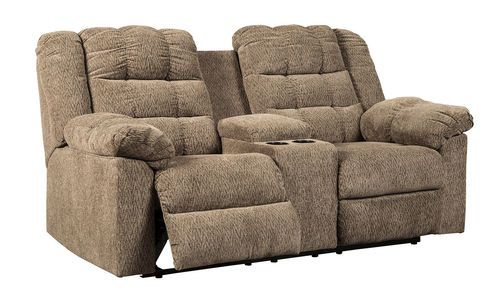 Workhorse Cocoa Double Rec Loveseat With Console Love Seat Recliner Bobs Furniture