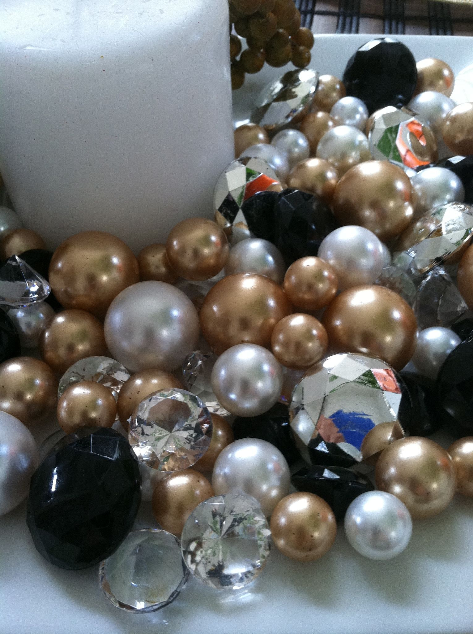 80pc diamonds and pearl gem mix holiday bowlvase fillers black 80pc diamonds and pearl gem mix holiday bowlvase fillers black gold brown floridaeventfo Images