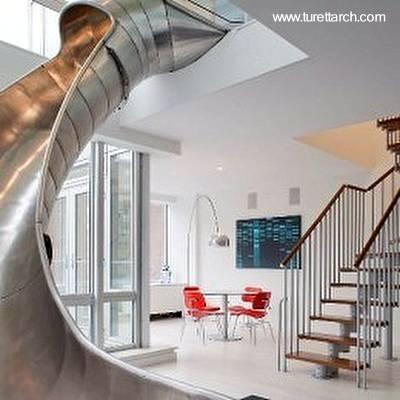 Tobog n escalera interior escaleras interiores - Casa con tobogan ...