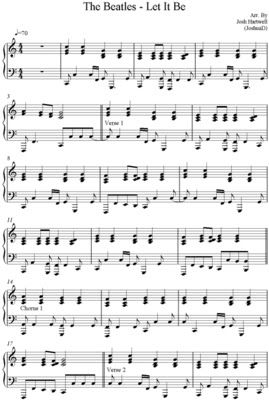 Partitura para piano de let it be the beatles for Partituras guitarra clasica