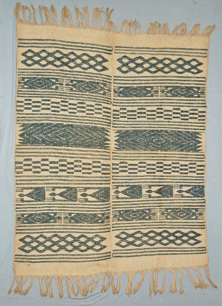 British Museum, Af1966,01.25. Unusual indigo dyed cotton on white version of an Ijebu Yoruba Osugbo society title cloth. Accessioned in 1966 from the Church Missionary Society but most likely circa 1900 in origin.