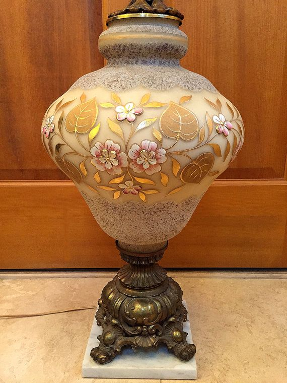Vintage west german style lamp 1940s hand painted pink flowers gold leaves large oversize