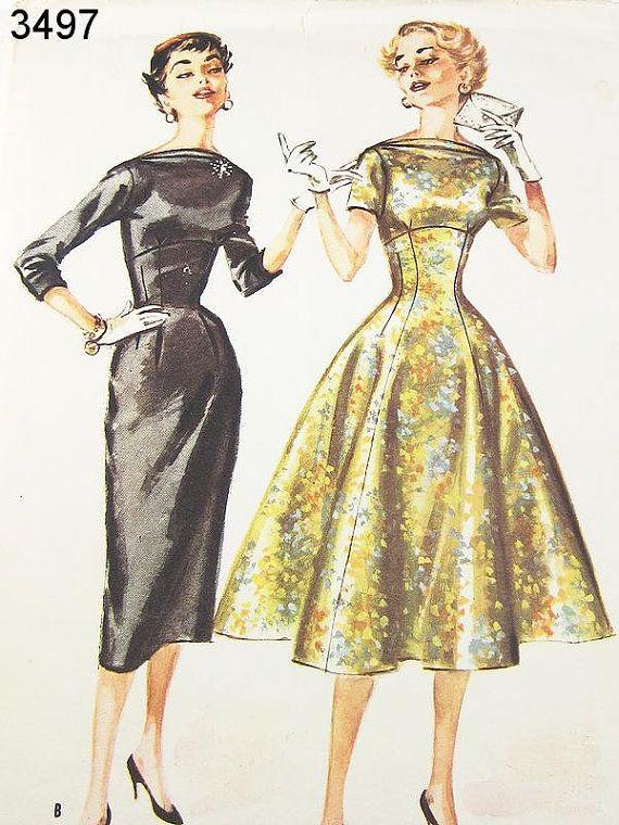 Vintage 50s Dress Pattern McCalls 3497 By ThePatternSource