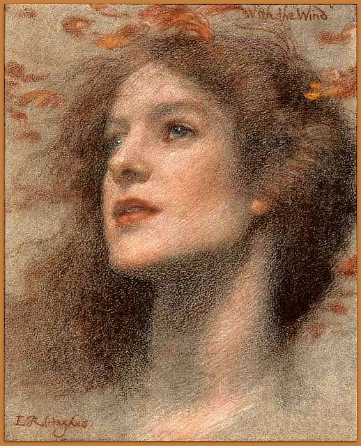"""Edward Robert Hughes (1851-1914) English painter - """"With the Wind"""" (modified), 19th century"""