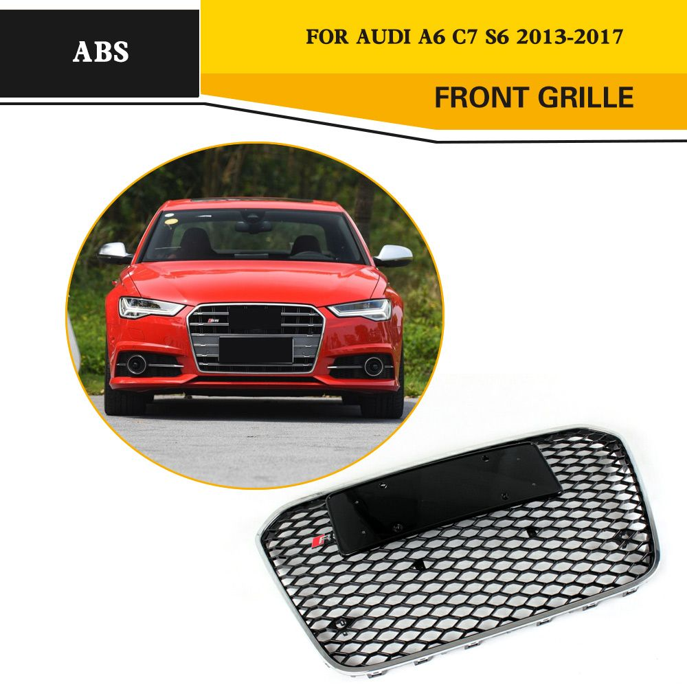 RS6 Style ABS Grille Chromed Front Racing Grille For Audi A6