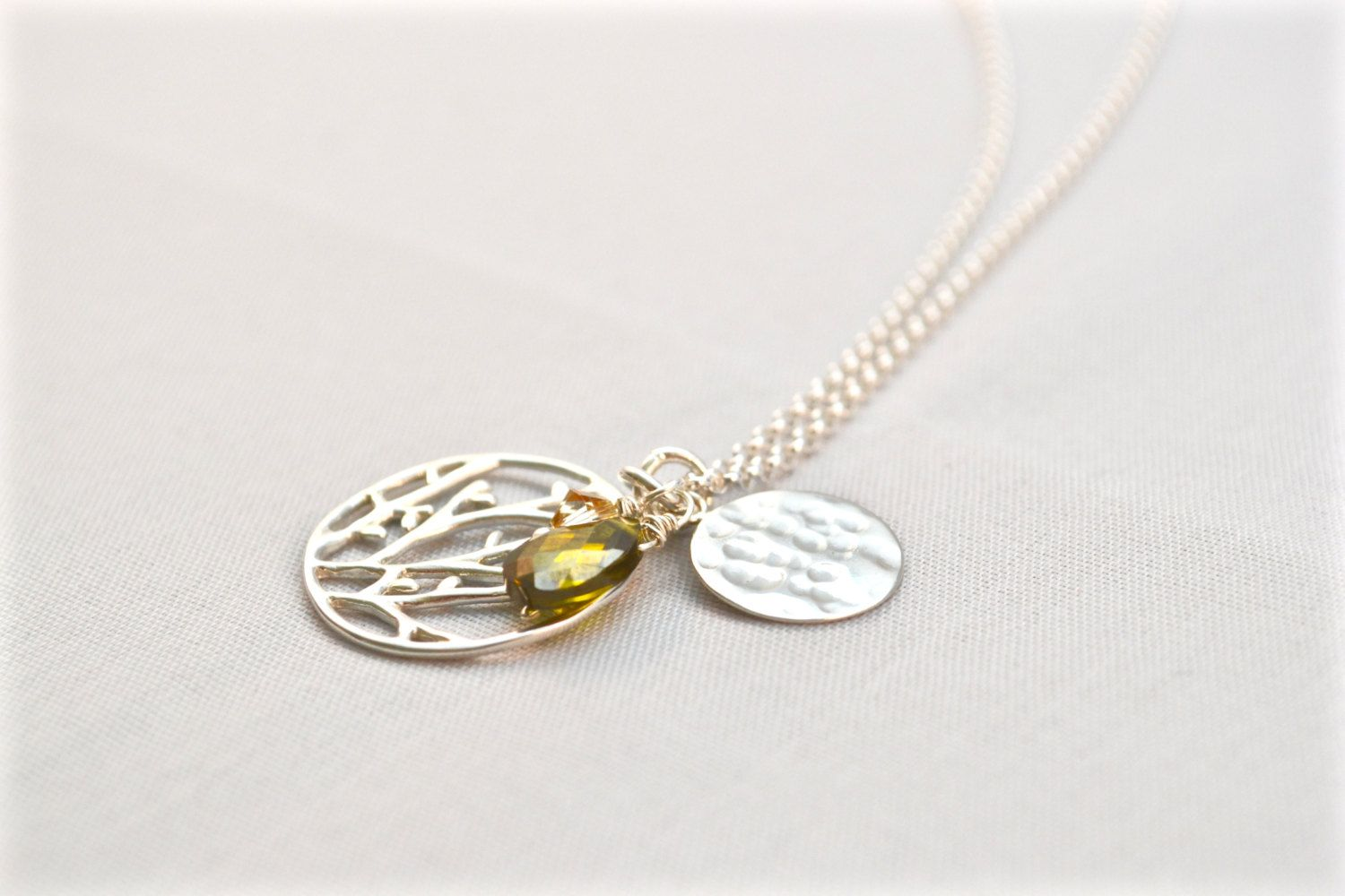 Round Tree Of Life Pendant Necklace Sterling Silver
