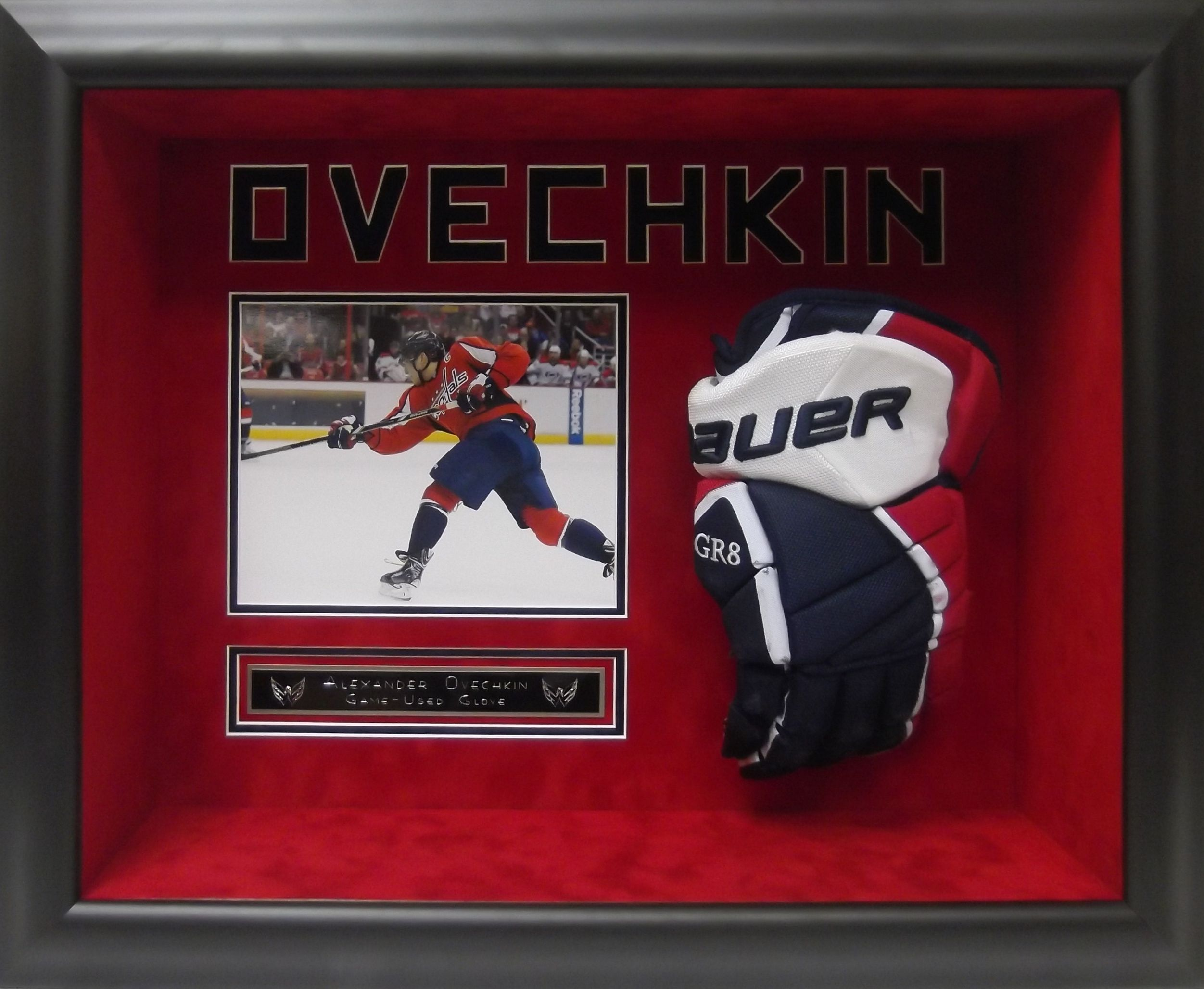 the best attitude 7ce9e d4bbe Alex Ovechkin game-used glove framed & matted #AlexOvechkin ...