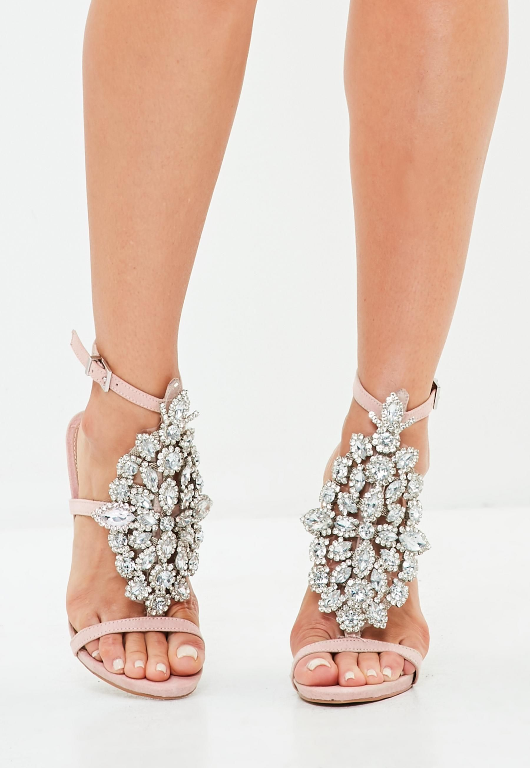 fdfb110c5ad6 Peace + Love Pink Ankle Height Embellished Sandals Diamante Sandals